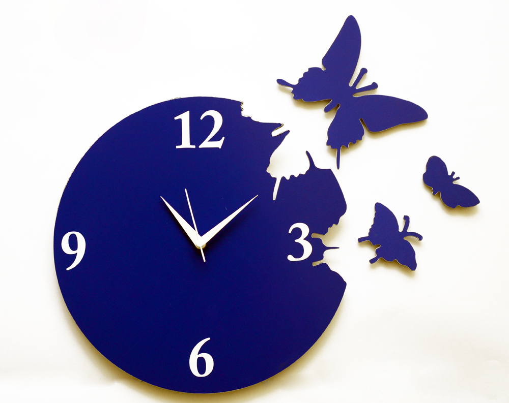 panache-blue-butterfly-aluminium-wall-clock-pan020
